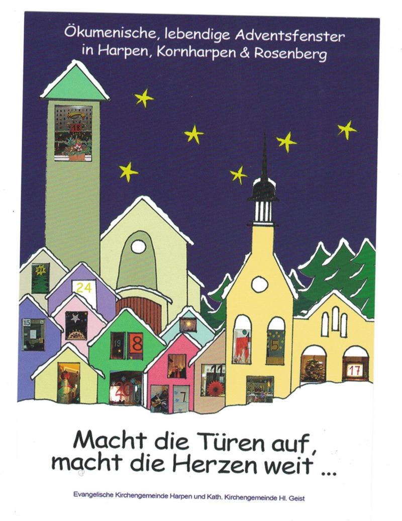 Grafik aus Nachthintergrund mit Sternen, davor einfach gezeichnete Häuser mit bunten Fenstern.