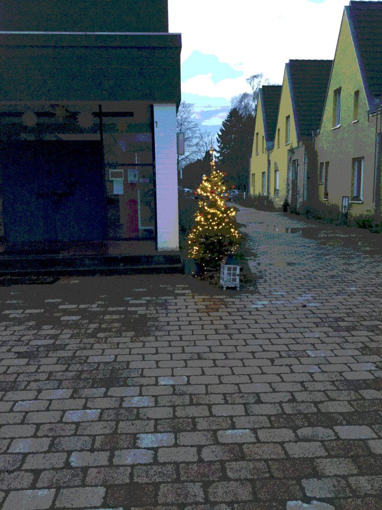 Rechteckige Pflasterung, links ein dunkles Gebäude, rechts neben dem Gebäude ein kleiner Weihnachtsbaum, vielleicht 1,50 Meter hoch. Rechts die Häuser des Beginenhofes mt den spitzen Dächern. Hellblauer Himmel, Morgendämmerung.