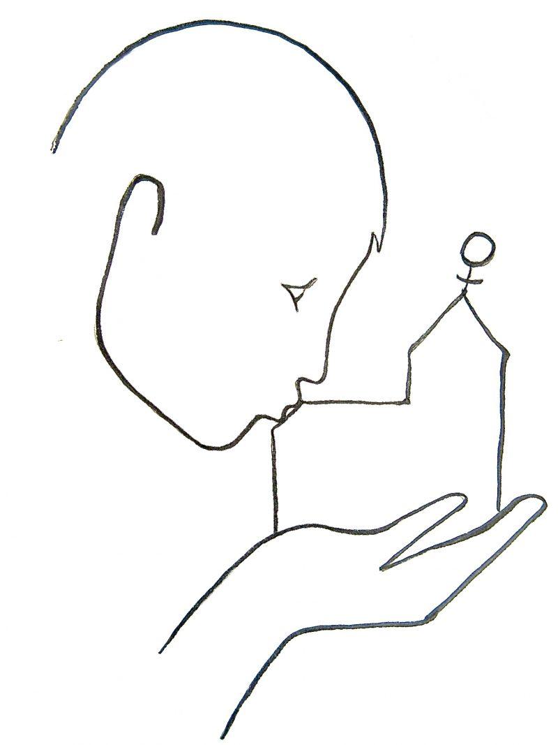 Strickzeichnung: Kopf küsste Kirche, die von Hand gehalten wird