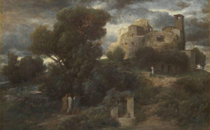 Landschaftsgemälde einer Szene aus alter Zeit, Büsche, rechts oben im Hintergrund eine Stadt. 3 Männer, kaum zu sehen in der düsteren Stimmung.